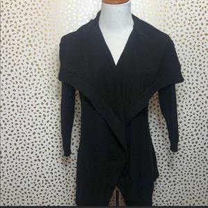 Theory black, open front cardigan top.